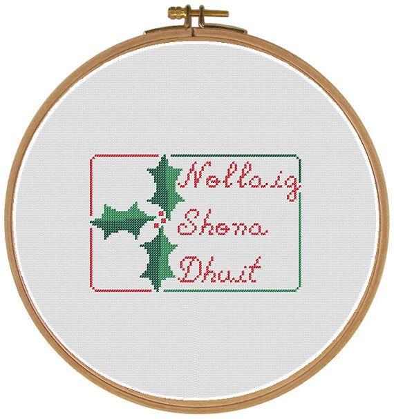 "Happy Christmas in Irish Gaelic  ""Nollaig Shona Dhuit"" with Holly  Cross Stitch Digital Pattern - Etsy"