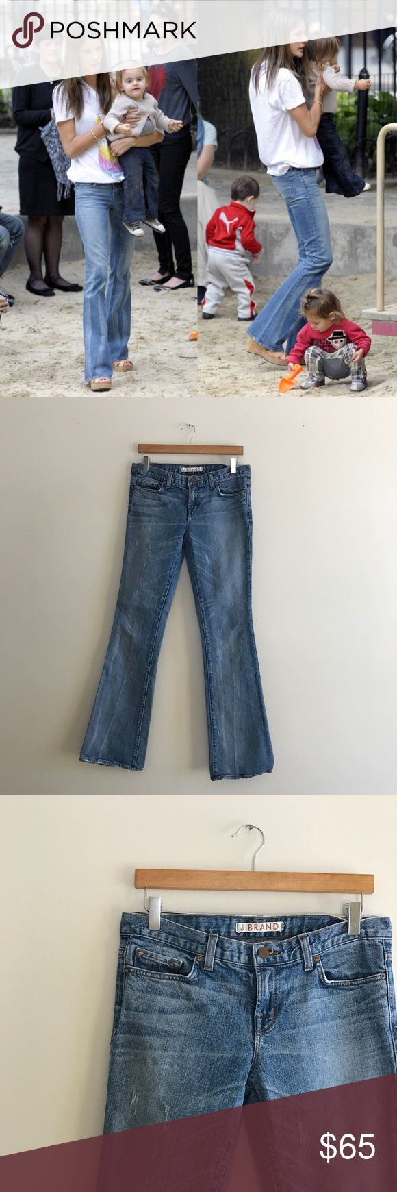 J Brand || Smith W Distressed Flared Leg Jeans As seen on Alessandra Ambrosio and Tori Spelling! Style # 1017O225. Smith W cut. Light wash and distressed denim. Medium flare leg, tight at knee. 33 inch inseam. 98% polyester / 2% Elastane. Mid-rise. Good condition! J Brand Jeans Flare & Wide Leg