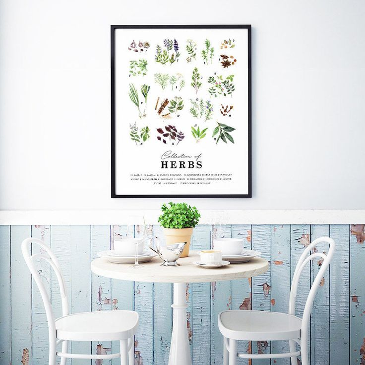 Print for the kitchen with tasty herbs that are popular when cooking. Kitchen wall art with nice green illustrations that goes well with trendy and modern interior design. Decorate your kitchen with a picture collage of our different kitchen posters.