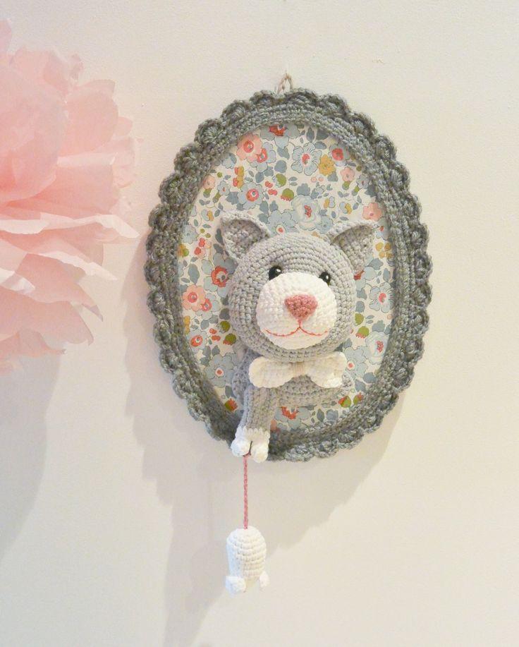 Trophée chat et souris fait main : Décoration pour enfants par ligne-retro