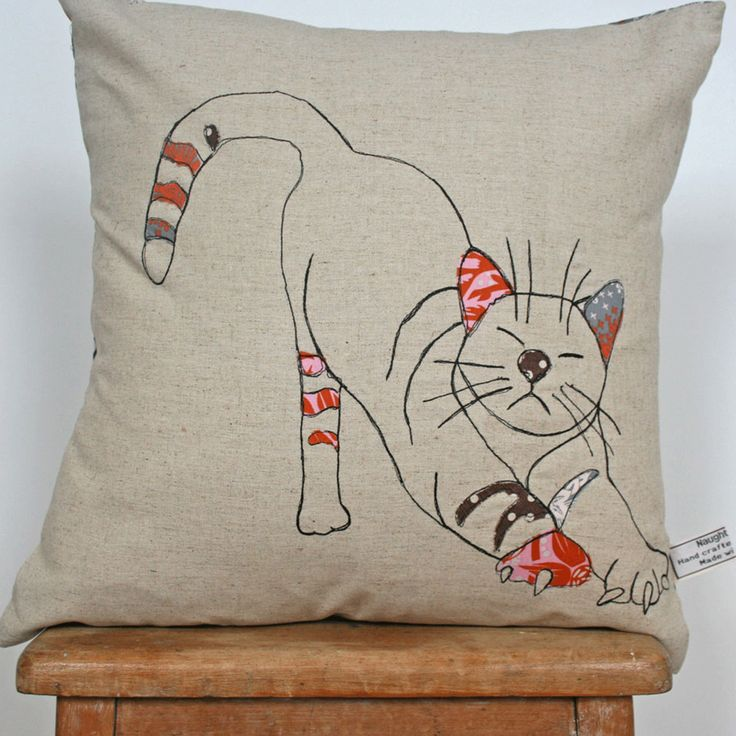 What I Always Wanted | Appliqued cushion in 100% linen - stretching cat design