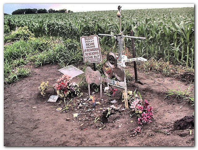 The place, the music, died. Off State Road 20, north of Clear Lake Iowa.  Site of the plane crash that killed Buddy Holly, Richie Valens, and others.
