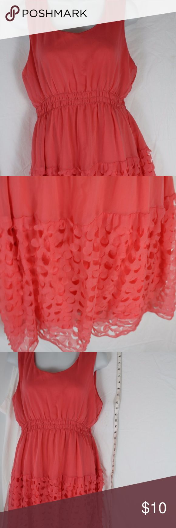 """ultra Pink size Large Salmon Colored Flutter Skirt ultra Pink size Large  Salmon Colored  Flutter Skirt  tank dress sleeveless  for career, casual, wedding armpit to armpit 17"""" length 38"""" Ultra Pink Dresses Midi"""