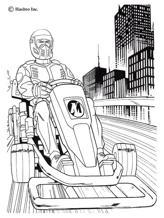 Here a coloring page of Action Man Atom supersonic street bike. Discover all your favorite free printable super hero coloring pages on hellokids.com