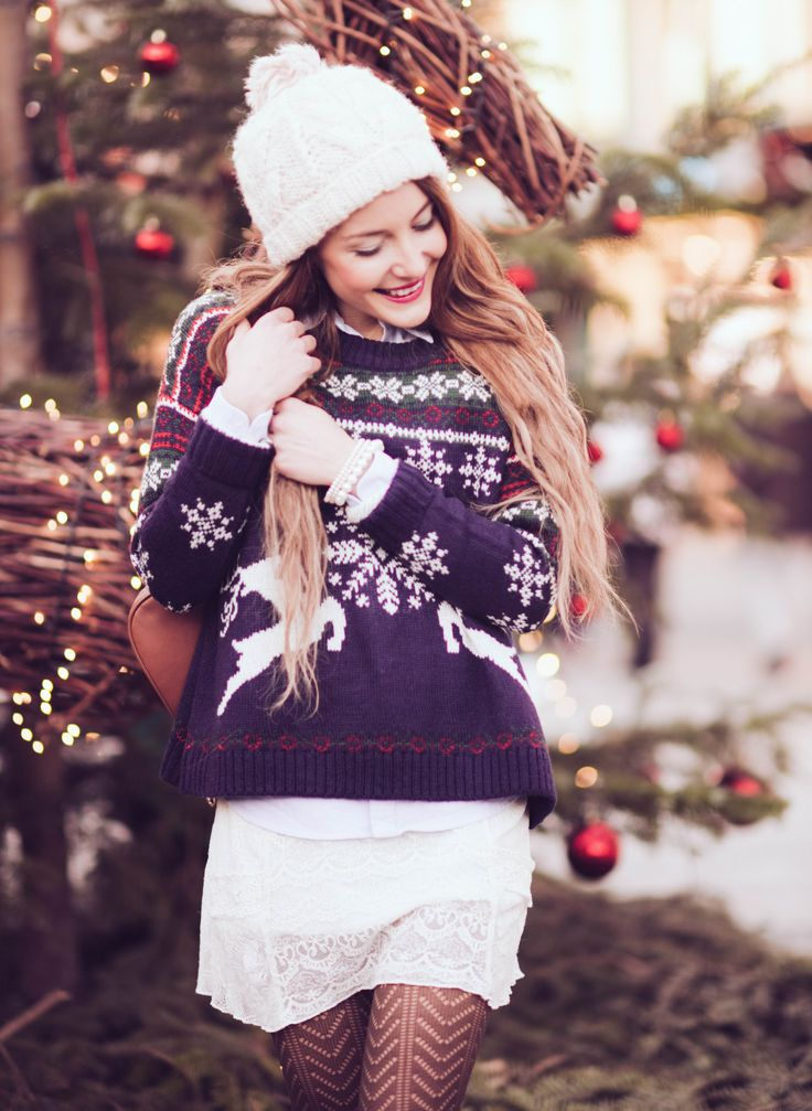 http://www.thefashionrose.com/2015/12/merry-christmas-asos-reindeer-sweater-ugg-boots.html The Fashion Rose. ASOS Christmas sweater. white lace dress. white beanie.