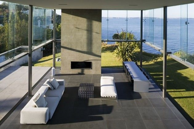 Lounge at Cliff House in Auckland, New Zealand by Fearon Hay Architects.