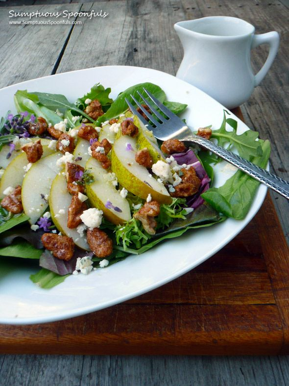Pear, Blue Cheese & Candied Walnut Salad with Lavender Vinaigrette