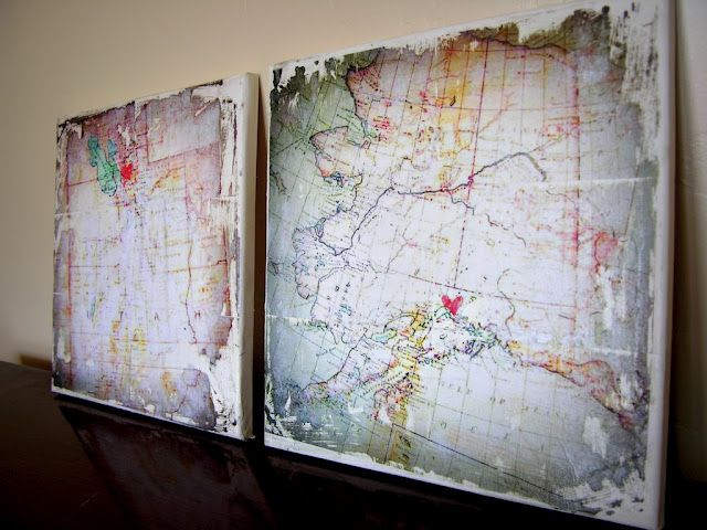 Maps transferred to canvas using Mod Podge. Super cool idea. For the loft and beach theme.--- @Krystan Remos is this possible?!?!