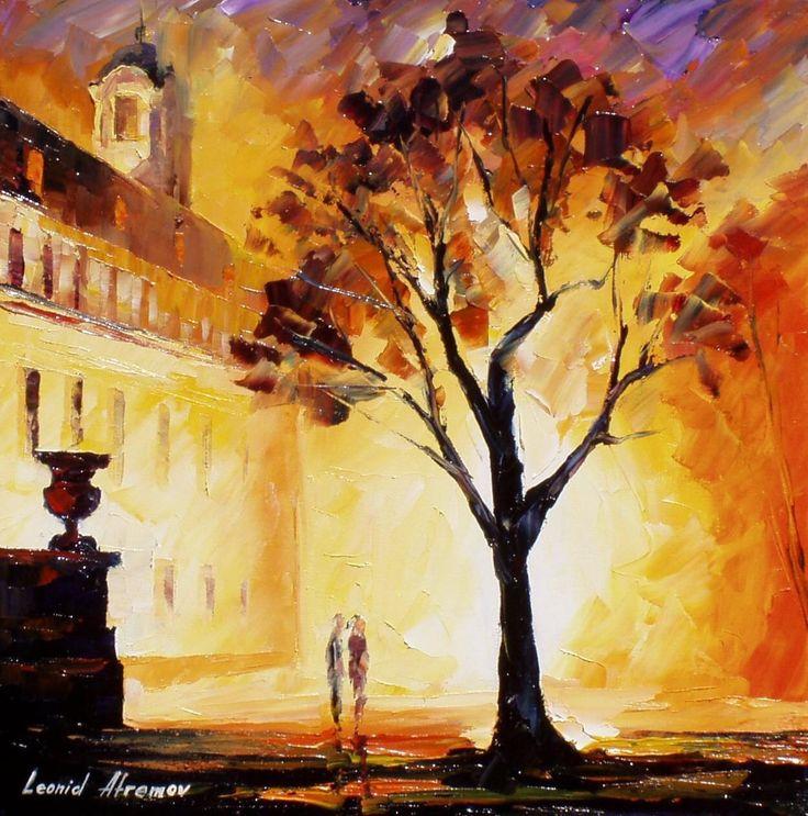 """Einsamer Baum-Spachtel gelb leuchtende Landschaftsölgemälde auf Leinwand von Leonid Afremov. Größe: 30 """"X 30"""" Zoll (75 x 75 cm) von AfremovArtStudio auf Etsy https://www.etsy.com/de/listing/215246760/einsamer-baum-spachtel-gelb-leuchtende"""