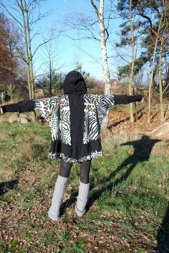 Panther Print Fairy Recycled Sweater Hoodie Top Hooded Pixie Elven Dryad Boho Hippie Gypsy Pagan Woodland Oversized Top OOAK Hoodie Sweater