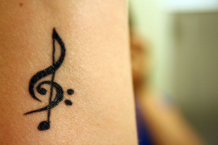 my music tattoo - treble clef, bass clef & a note