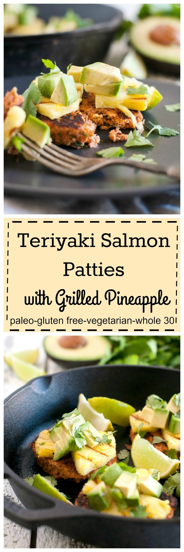 Quick and easy Teriyaki Salmon Patties with Grilled Pineapple. The flavors of teriyaki sauce baked right into the salmon. Make a batch for the freezer too.