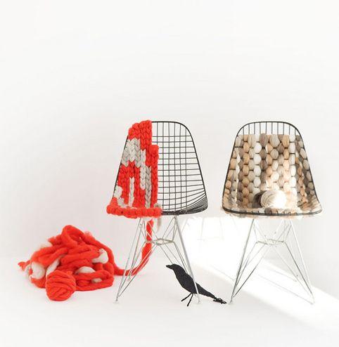 silla estructura tejido the Eames Wire Chair.