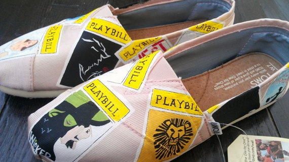 Comfort +Broadway style Broadway Playbill Custom TOMS. $120.00, via Etsy.