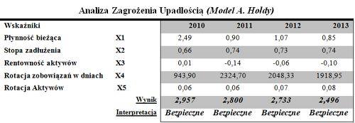 Analiza zagrożenia upadłości A. Hołda