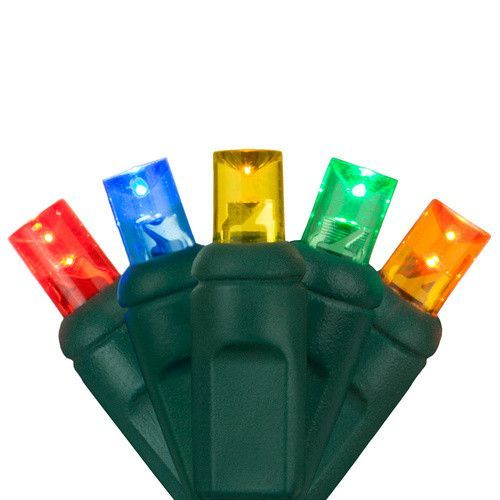 """50 5mm Multi Color LED Christmas Lights, Green Wire, 4"""" Spacing"""