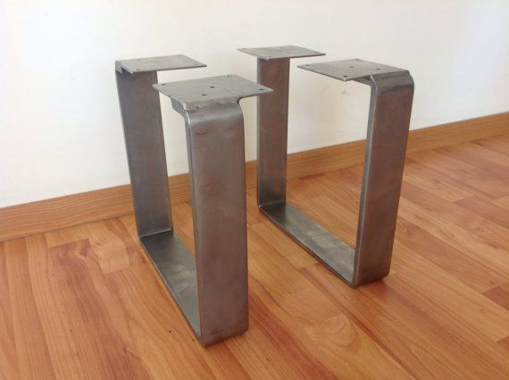 "SET-Square Table Leg 28"" FLAT STAINLESS Steel Table legs"