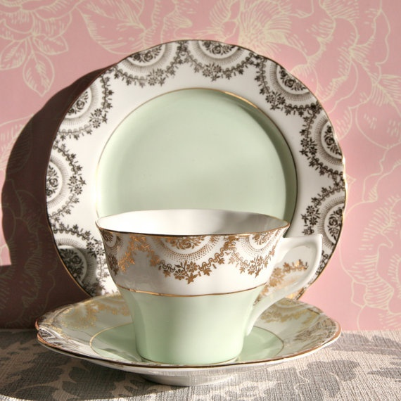 Vintage soft green and gilt teacup saucer and by PavlovaandFox, £15.25