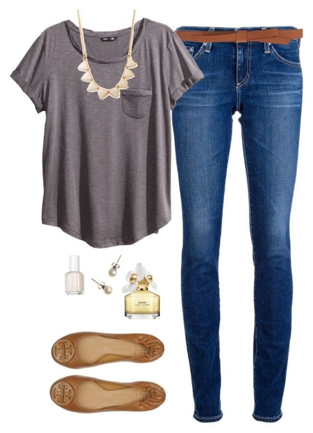 """""""I tried daisy"""" by northern-prep ❤ liked on Polyvore featuring AG Adriano Goldschmied, Tory Burch, Ganni, H&M, Forever 21, Marc Jacobs, J.Crew and Essie"""