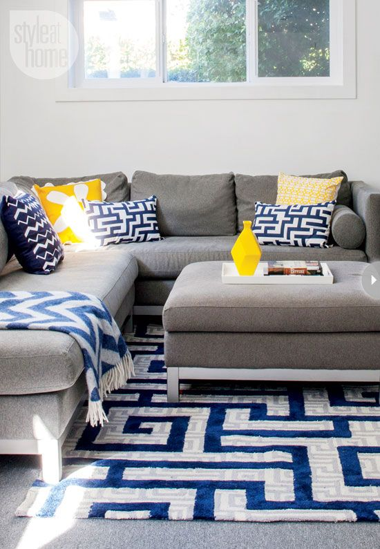 Blue Yellow Grey And White Living Room Theaters Fau Interior Cheerful Contemporary Family Home In 2019 House Pinterest Decor