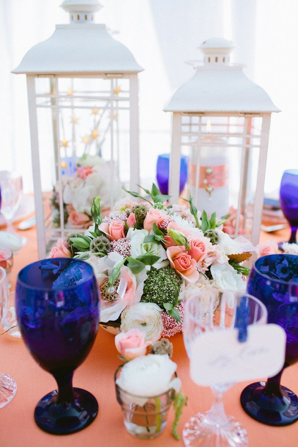 Peach and navy blue in a great table setting