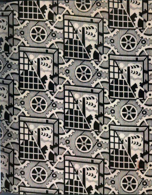 Soviet textile 1920- 1930... how very soviet union 1920-1930... ugh... you can just feel the despair of communist growth and simultaneous oppression/ starvation... it even seeped through their fabric design... geesh...