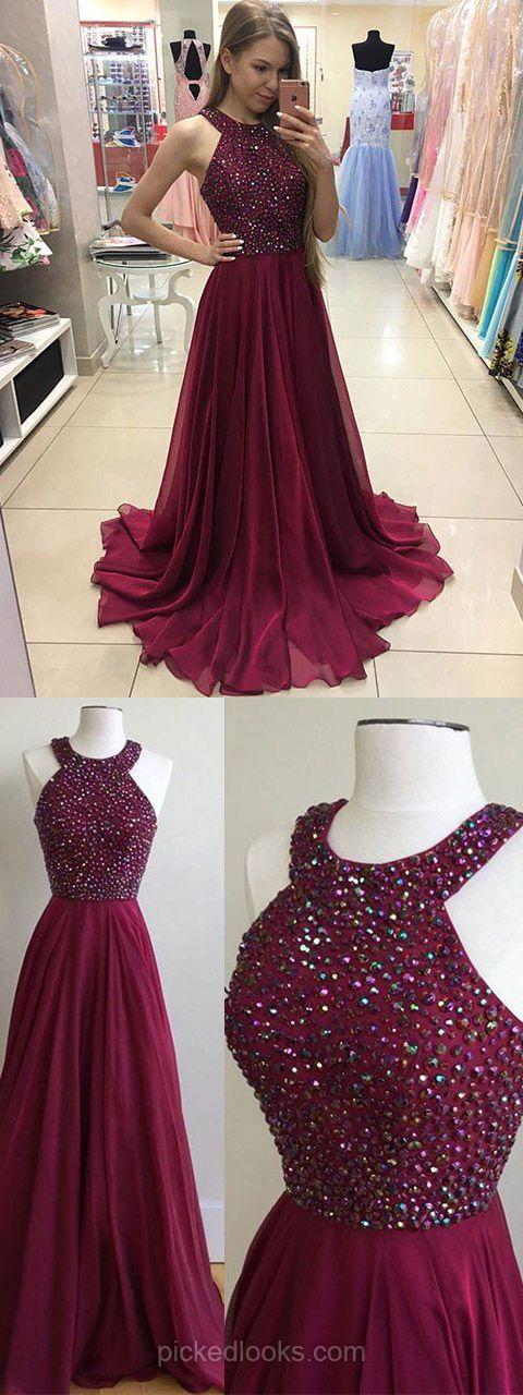 Long Ball Dresses Burgundy, A line Prom Dresses Chiffon, 2018 Evening Dresses for Teens, Cheap Graduation Dresses Scoop Neck