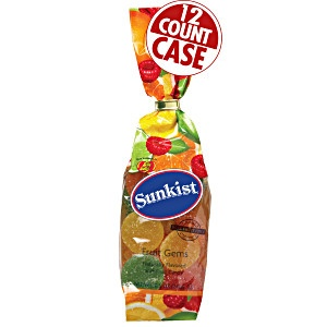 Sunkist Fruit Gems bag from Jelly Belly. Fruity pectin candy - five flavors. Lemon. Raspberry. Orange. Lime and Grapefruit. Fruity