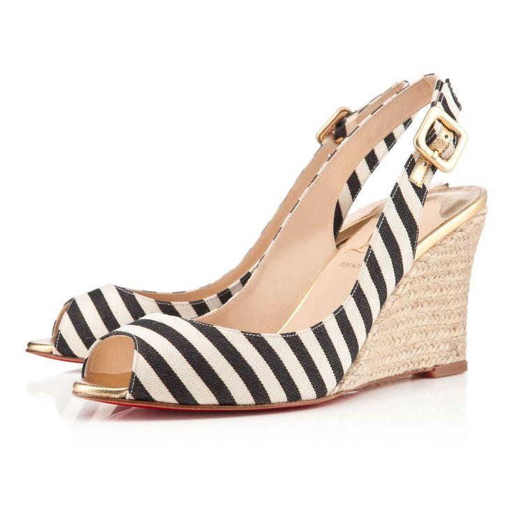 Christian Louboutin Womens puglia sling 85mm america black gold Sandals. Cl  ShoesWedge ...