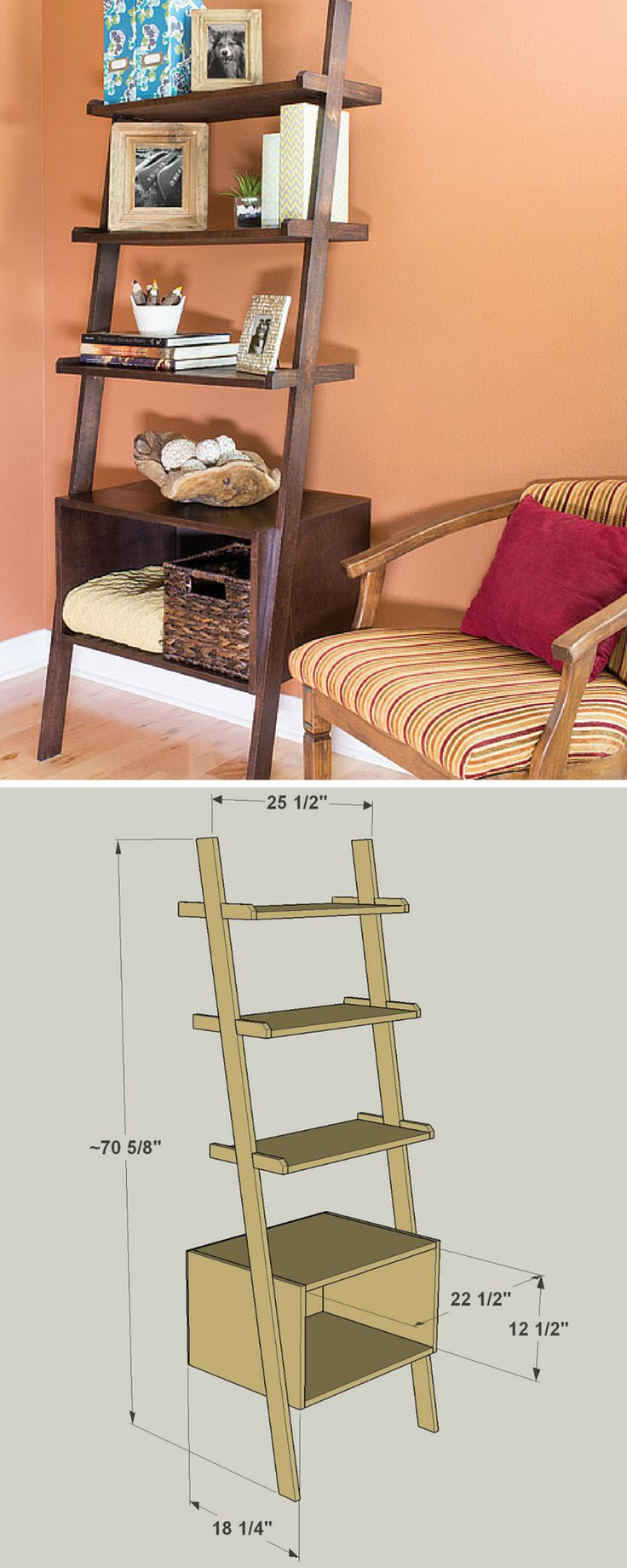 #woodworkingplans #woodworking #woodworkingprojects Here's proof that DIY projects don't have to be all about straight lines and square corners. These attractive shelves feature angled legs that might look like they add complexity. Truth is, they're not tough to build at all. Plus, they look as good as the items you display on them. Get the free DIY plans at buildsomething.com