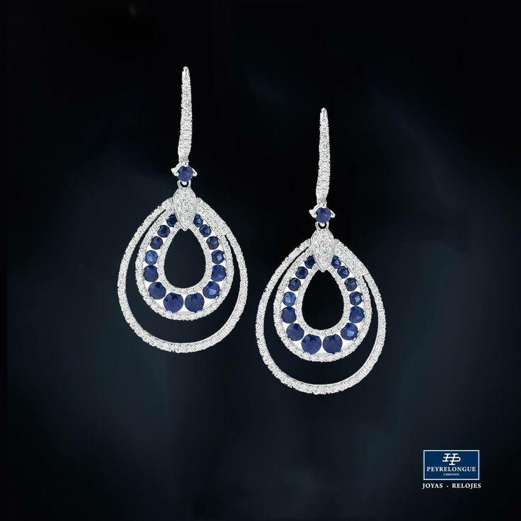 #JoyasPeyrelongue  Aretes con zafiros redondos y diamantes en oro blanco de 18 kt. / #jewelry / #luxury / #newchic / #fancy / #elegant / #joyas / #style / #cute