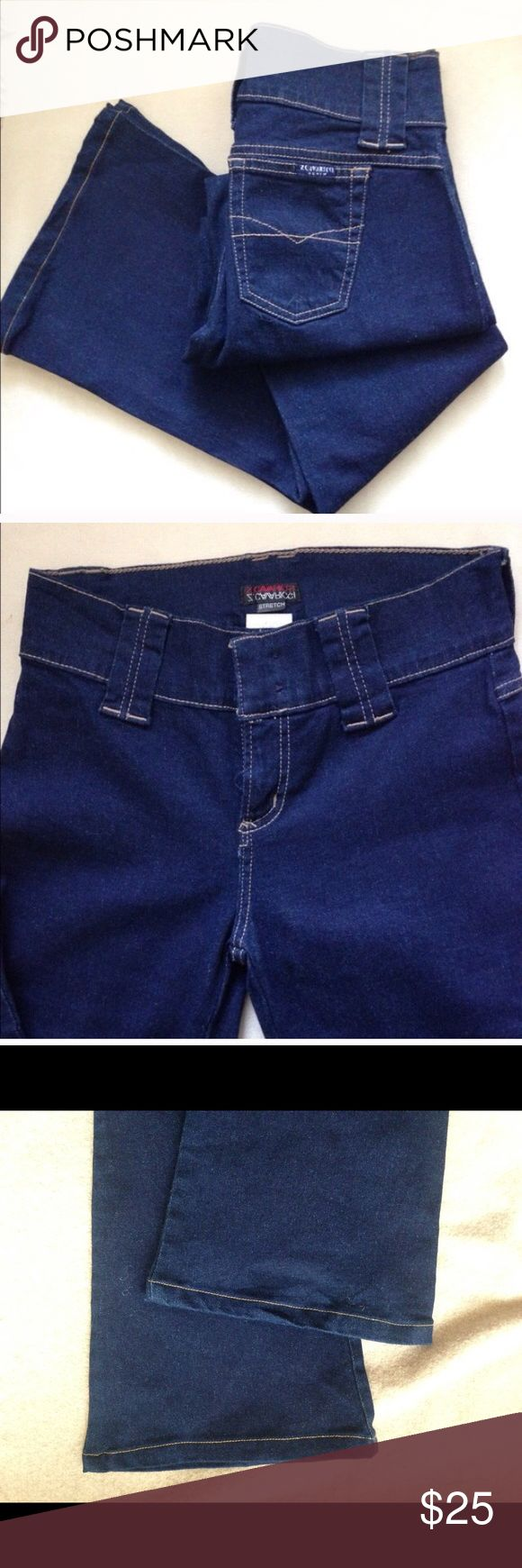 "Z. Cavaricci** Blue denim Flare Jeans Stretch 2 pocket, 5-hoops (3-1/4"" wide) on waistband. 2 hidden front buttons. Waist 28"", Rise 9"", Leg length 30"". Materials: Cotton 96% Spandex 3%. Excellent condition worn only a few times. Imported size 3 (US size 28). Sorry no Trades Z Cavaricci Jeans Flare & Wide Leg"