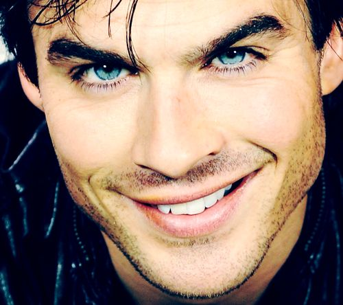 his dark hair, blue eyes, and ridiculously sexy crooked smile are amazing.