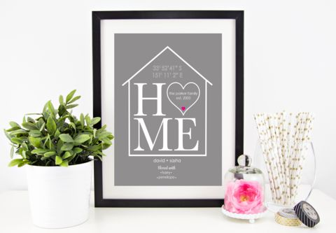 Framed personalised family home print by lovepaperink.com from $24, gorgeous housewarming gift or a beautiful compliment to your family home - includes your home gps coordinates as a style feature with family names #anniversarygift #homeprints #personalisedgifts #framedprints #homedecorideas #personalisedwallprints