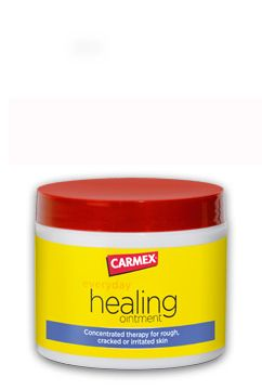 Carmex's new ointment ... this is my favorite hand salve ever now. Rock climbing, restaurant work (bleach and OCD hand washing), weight lifting... this stuff takes the pain away and softens them up!