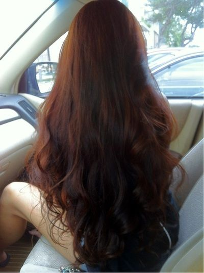 my dream hair - long, thick, dark auburn, straight top with wavy ends.
