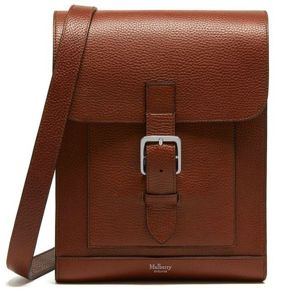 Mulberry Chiltern Small Messenger Bag ($740) ❤ liked on Polyvore featuring bags, messenger bags, oak, courier bag, brown leather bag, real leather bags and mulberry messenger bag