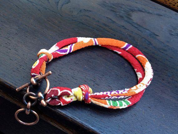 KIMONO cord Bracelet : Japanese chirimen kimono fabric cord adjustable toggle bracelet with gift envelope small/medium on Etsy, $20.00
