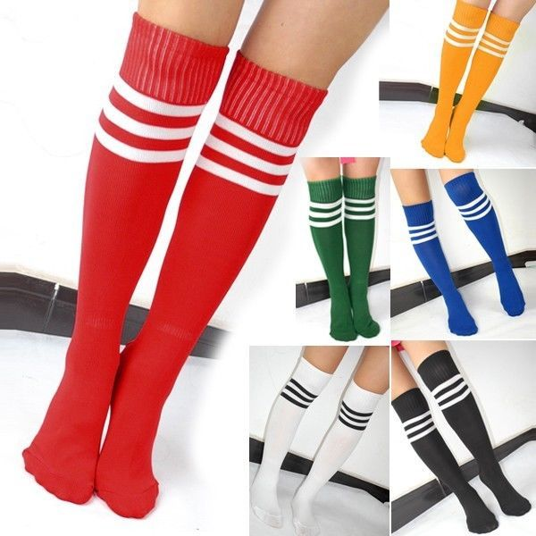 6 Choices Thigh High Striped Over Knee Long Socks Stockings Tube Soccer Football #Unbranded #KneeHigh