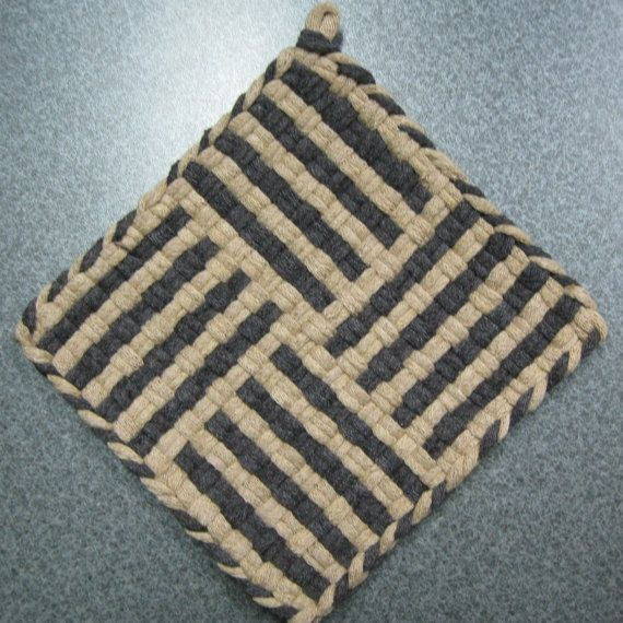 Cappuccino Woven Potholder by DoorsiDell on Etsy, $4.00