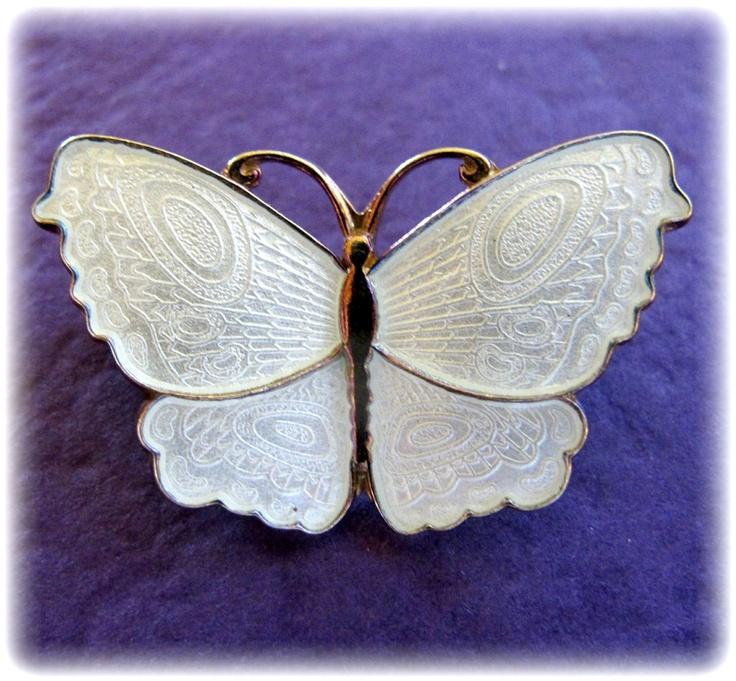 Norway White Guilloche Enamel Butterfly Pin by Arne Nordlie from 2heartsjewelry-rl on Ruby Lane