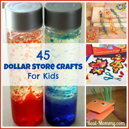 45 Dollar Store Crafts For Kids, great rainy day activities or frugal fun for kids birthday parties! ~ Real-Mommy.com