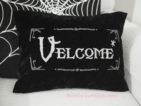 Velcome Funny Halloween Pillow Cover Vampire by BubbleGumDish, $40.00