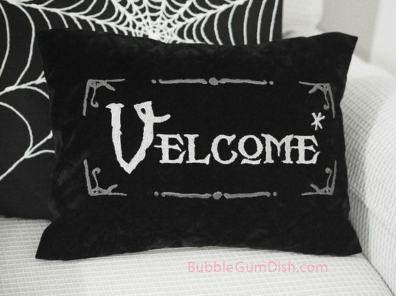 Velcome Funny Halloween Pillow Cover Vampire by BubbleGumDish, $40.00