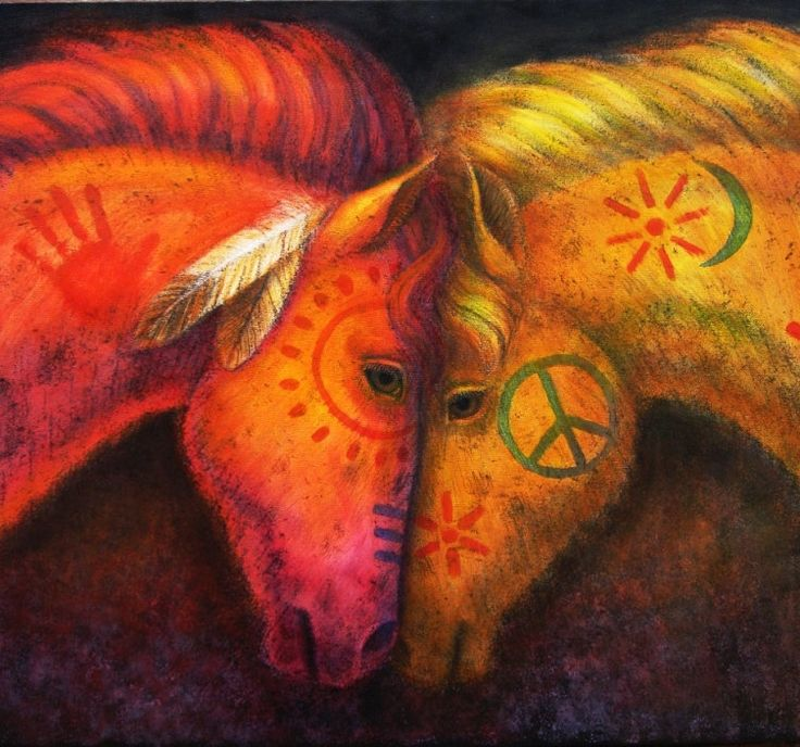 Original Horse Art Painting, War & Peace Horses painted pony 24x36 oil on canvas