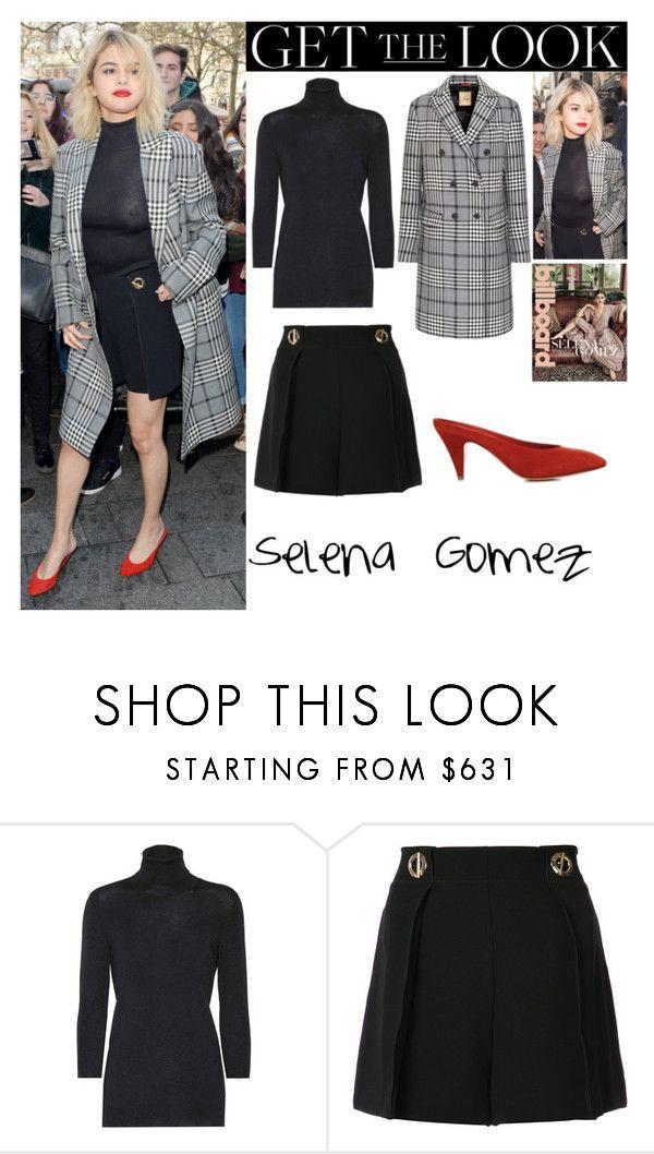 """Selena Gomez Capital Radio in London UK December.04.2017"" by valenlss ❤ liked on Polyvore featuring Prada, Mansur Gavriel and 10 Crosby Derek Lam"