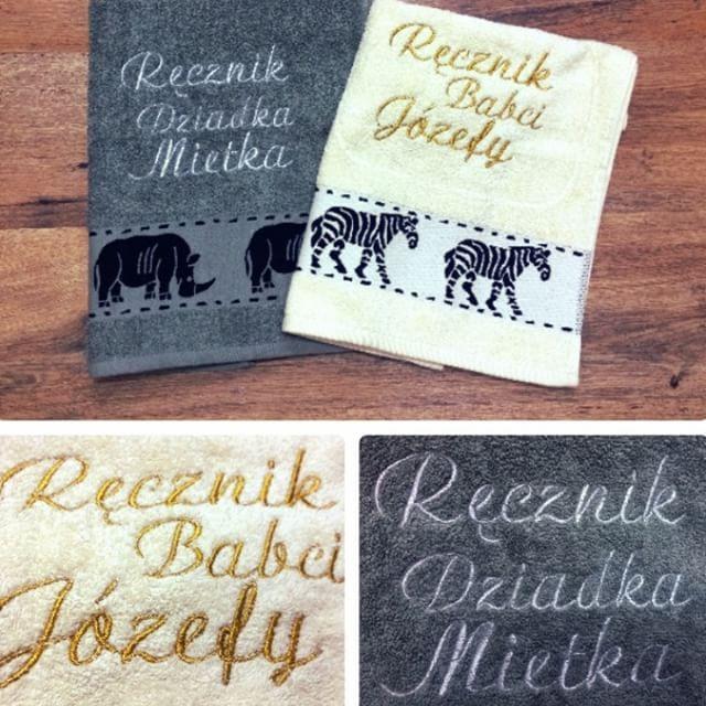 Ręcznik z haftem !!! Idealny pomysł na prezent, który na długo pozostanie pamiątką dla obdarowanej osoby - możesz podarować go na Urodziny, Imieniny, Rocznicę, Ślub i na każdą inną okazję !  #towel #bath  #embroidery #sewing #client #pillow #case #gift #birthday #dedication #design #poduszka #wykonamy #haft #okolicznościowy #poduszka #prezent #dedykacja #koszalin #szczecin #Warszawa #grandmother  #grandfather  #day #dzień #babci #dziadka #Silver #Gold