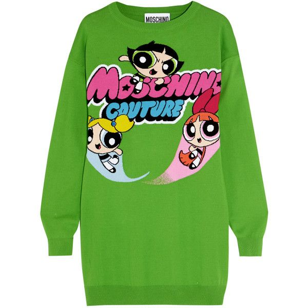 Moschino Intarsia cotton sweater dress (900 TND) ❤ liked on Polyvore featuring dresses, green, comic dress, comic book, green sweater dress, mini sweater dress and embellished mini dress