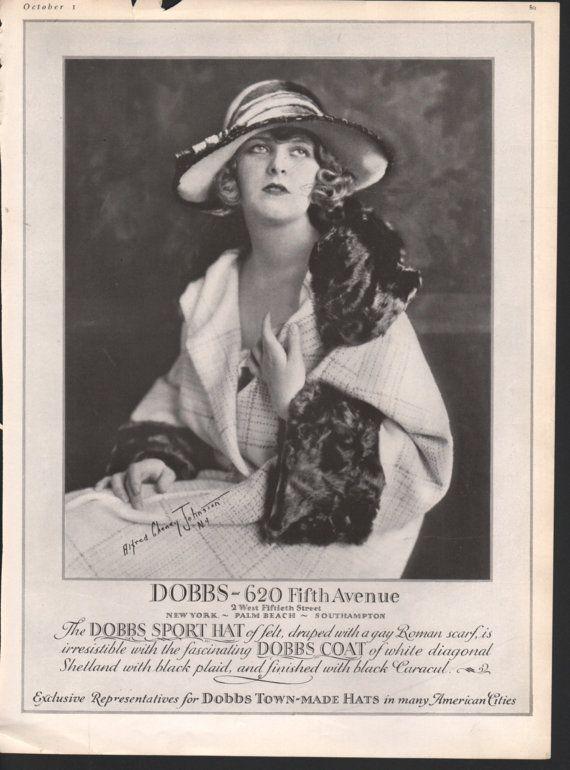 Lingerie, stockings, underwear, hosiery, fabric, swimwear; 1920s Dobbs Hats and Coats; approx. 9x12 in. - PD001944