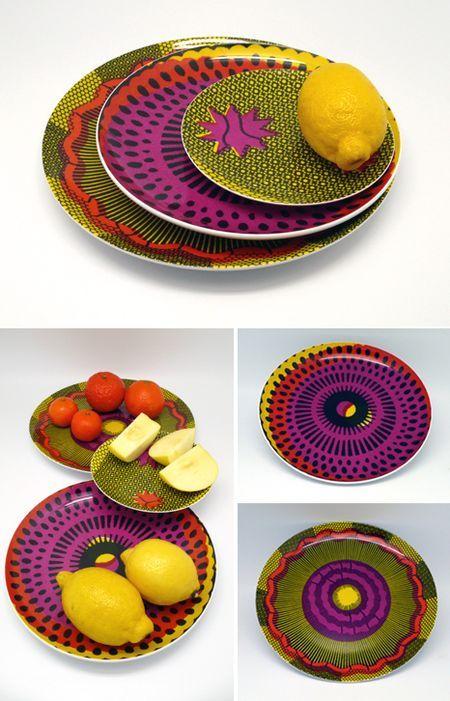 www.cewax.fr aime cette décoration afro tendance, style ethnique, tissus africains. Dans le même style, visitez la boutique de CéWax : http://www.cewax.fr/ #wax, #ankara, #kente, #kitenge, #bogolan, #AfricanHome, #ethnotendance, #AfricanPrints - Wax Print Dishes by Sentou